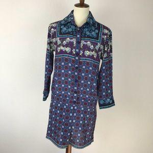 Anna Sui Silk Print Shirt Dress